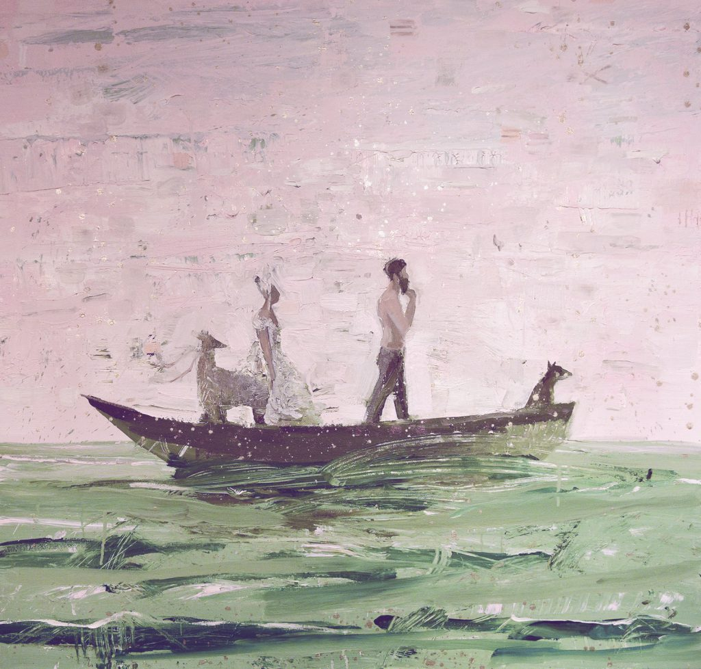 An acrylic painting on canvas of animals and figures in a boat