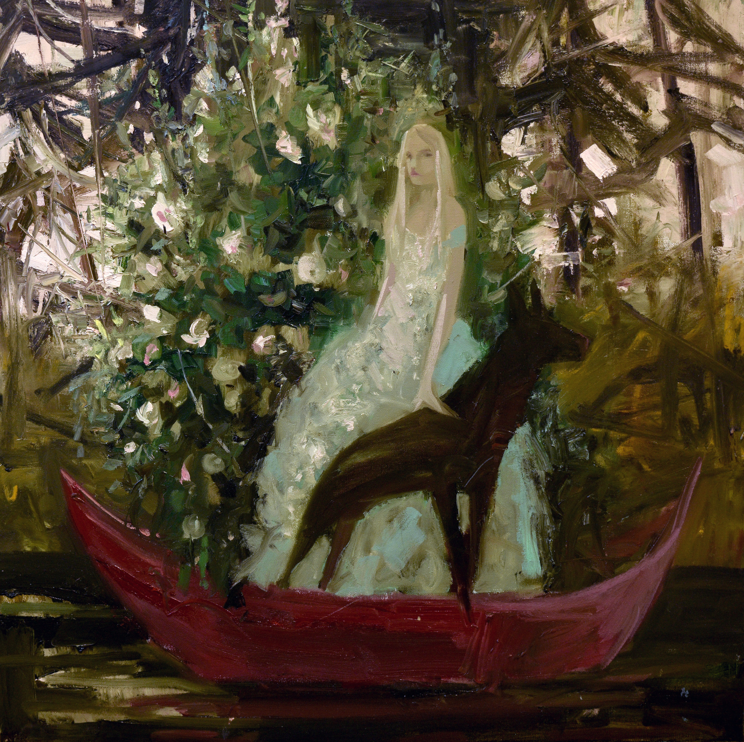 girl and dog stand in front of flower bush on boat