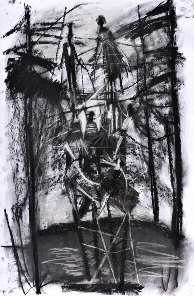 people dance on scaffold in forest