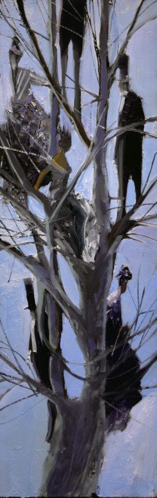svelte-clad people sit in tree