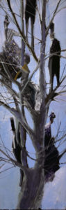 svelte-clad people sit in tree