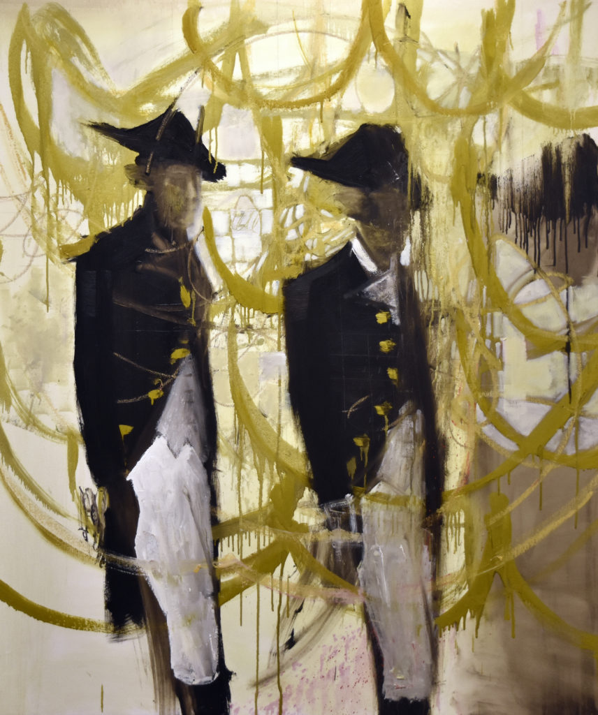 two men in revolutionary-era attire with a whimsical, gold background