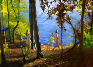 three girls stare at lake from forest edge