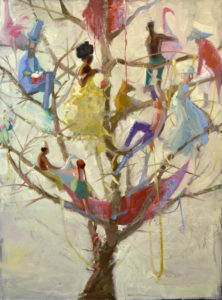 vibrantly dressed people lounge in tree strewn with multicolored garlands