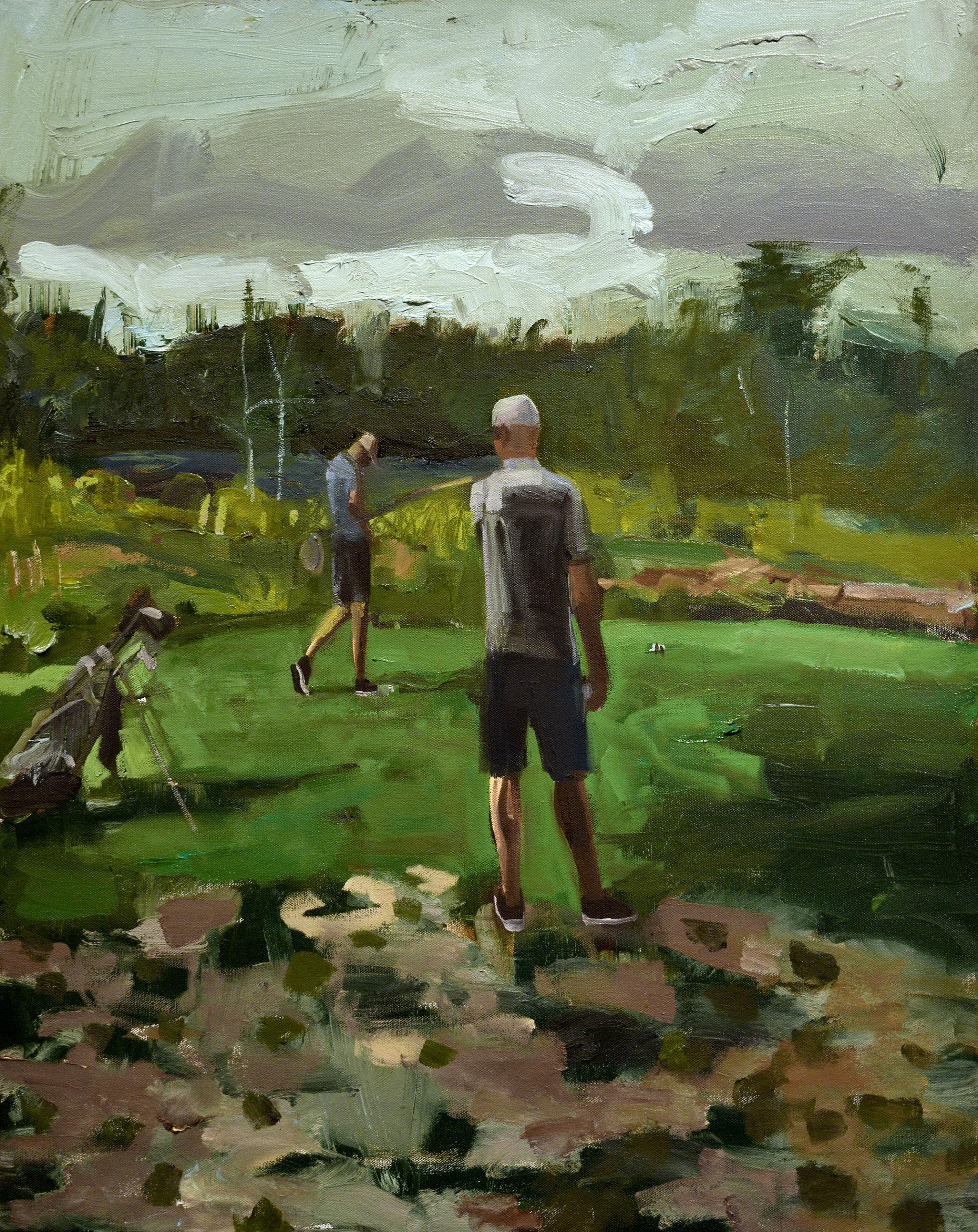 two men play golf