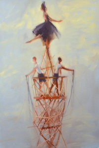 ballerina balances atop rickety scaffold, two boys drape down garlands beneath her